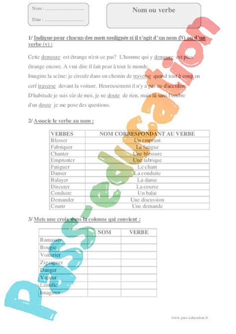 Autres fiches - Orthographe : CM2 - Cycle 3 - Exercice