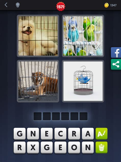 4 Images 1 Mot Chien + Perroquets + Tigre + Cage Android
