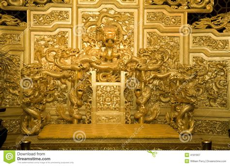 Chinese Golden Emperor's Throne Dragons Stock Image