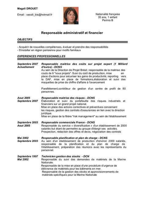 exemple cv responsable planning