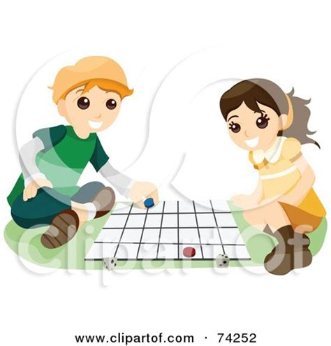 Clipart Stick Kids Playing On A Giant Chess Board