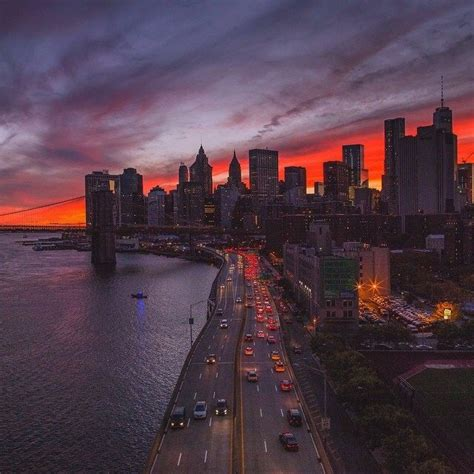FDR under the purple amber sky | Sunset in nyc, New york