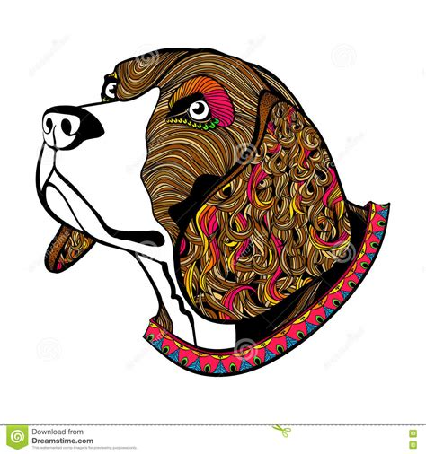 Hand Drawn Color Dog's Face, Beagle's Head With Collar